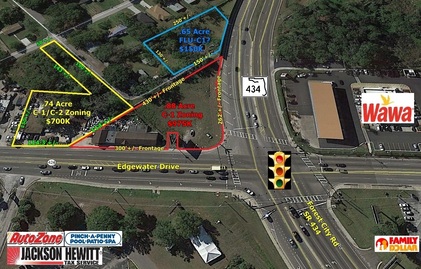 2.27 Acre Hard Corner Development Site, Edgewater Drive & Forest City Rd, Orlando